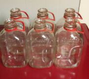 Vintage Pa One 1/2 Gal Glass Rutters Milk Bottles With Handles Rare Embossed