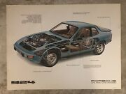 1977 Porsche 924 Coupe Exposed View Showroom Advertising Sales Poster Rare Blue