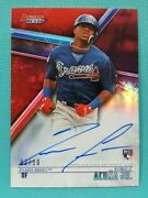 2018 Bowmanand039s Best Ronald Acuna Jr. 2/10 Auto Red Refractor Rookie Autograph Bd