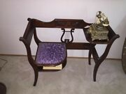 Vintage Lyre Back Telephone Chair. Antique Furniture Duncan Phyfe Style.