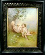 French 19th Century Large Plaque Painting On Porcelain Of Nude Cherubs Signed