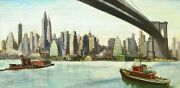 French Oil Painting Oil Landscape American York Brooklyn Bridge Us East River