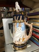 """Vintage Stein """" Collectable Treasures """"  White Owl 17"""" Height Linda Hogg"""