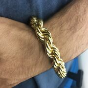 Mens 14k Gold Plated Hollow Rope Chain Hip Hop Big Bracelet 9inch X 14mm Wide