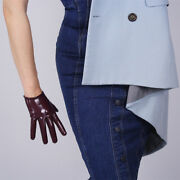 Latex Short Gloves Shine Leather Faux Patent Pu 6 16cm Everyday Dark Red Purple