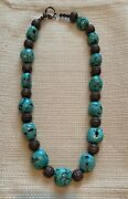 Large Turquoise Stone Beads And Silver Filigree Bead Necklace