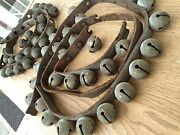 Sleigh Bells Ringing Antique Leather Strap With 55 Brass Bells-great Sound
