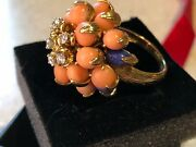 Birthday Peach Skin Coral, Diamond And Lapis 18k Gold Antique Ring   Reduced