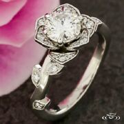 1.60 Ct White Round Cut Diamond Floral Flower Halo Engagement Ring In 925 Silver