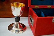 + Antique French Silver Chalice In Case + All Hand Hammered + Cu552 +