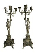 Pair Of Empire Silver Over Bronze Womenandnbsp 5-arm Candelabras Over 2and039 Feet Tall