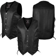 Ard Genuine Leather Menand039s Braided Side Lace Motorcycle Biker Vest S-6xl Black