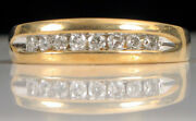 Vintage Designer Signed M 14k Yellow Gold And Diamond Row Ring 4.2 Gram Size 7