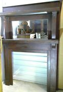 Antique Oak Fireplace Mantel 1920and039s