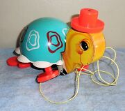 Fisher Price - 1962 Tip Toe Turtle Wooden Pull Toy 773 Complete Euc