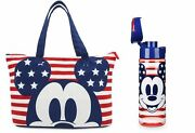 Mickey Mouse Americana Foldable/pouch Tote Bag With Matching Water Bottle Disney