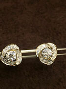 Pave 0.93 Cts Natural Diamonds Stud Earrings In Solid Hallmark 18k Yellow Gold
