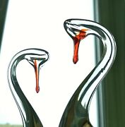 Crystal Swans Love Сouple Glass Antiques Wedding Neck For Rings Vintage Ussr
