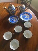 Vintage Emperiors China Set. Includes 5 Cups, 6 Saucers, 5 Small Plates And 2 Pots