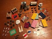 Large Lot Of Vintage Dollhouse Kitchen Sewing Tools Garden Accessories
