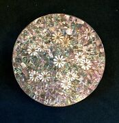 Los Castillos Large Charger Plate. 16 1/2 Dia. Antique Mexico. Abalone. Pearl