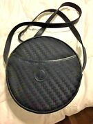 Mint Vintage Navy Canvas And Leather Round Canteen Crossbody Shoulder Bag