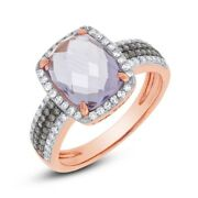 14k Rose Gold White Champagne Diamonds And Radiant Cut Halo Amethyst Ring 1804