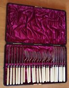 Sterling Silver Victorian 12 Person Set Of Knives And Forks 1881 By Levesley Bro