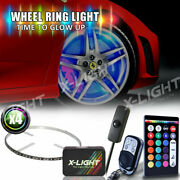 4pc 15 Wheel Ring Led Light Kit Dual Remote Controlled W/ Sound Active And Switch