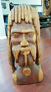 Beautifully Hand Carved Smoking Man W/ Pipe - Carved In Jamaica 1986