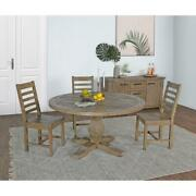 Table Dining Room Kitchen Round Reclaimed Pine Wood Desert Gray Furniture New