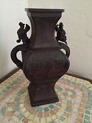 Antique East Asian Dragon Vase With Stamp Signed