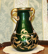 Art Nouveau French Green Glass Beaded Vase Three Handled Love Cup Circa 1900