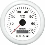 White Tachometer 7000 Rpm And Digital Hour Meter And 4 Led Alarm Outboard Inboard