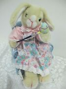Vintage Animated Musical Easter Bunny Rabbit Painting Egg In Chair