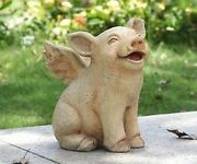 Pig When Pigs Fly W/ Wings - Realistic Life Like Figurine Statue Home Garden