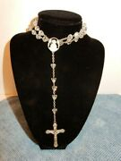 Beautiful Vintage Sterling Silver And Crystal Rosary Bead Necklace