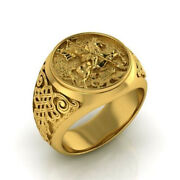 18 Kt Real Solid Yellow Gold St. George Fighting Dragon Ring Size 8,9,10,11,12