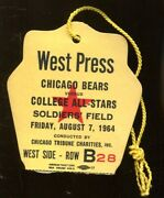 1964 Chicago Bears V College All Stars Game Press Pass Ticket 8/7 Soldiers Field