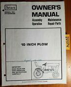 Sears Craftsman 917.645490 10 Plow For Yard Tractor Owner Operator Parts Manual