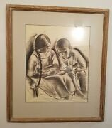 Original Charcoal Drawing Study For A Painting By Listed Artist Doris Rosenthal