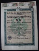 Germany 1000 Mark Bond 1922 With Coupons Unc/sold As Each