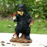 Gnomes In Trouble With Bear Statue - Life Like Figurine Cute Home / Garden New