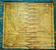 Antique Old 1854 Jacob Monk Large United States North Central America Canvas Map