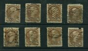 Vf And Fine 8 X Six Cent Small Queen Used Canada Stamps