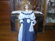 34 In. Porcelain Doll Lady Old West Great Bead Details Blue Dress White Ruffles