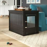 Pet Crate Bed Dog Kennel Cage End Table Eco Wood Oversized Furniture Puppy House