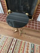 French Bronze Circular Marble Top Ostrich Leg-form Side Table - Rare
