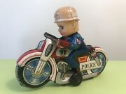 """""""haji"""" Tin Toy Cycle Motorcycle Police P.d. Made In Japan 1960's"""