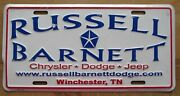 2007 Winchester Tennessee Russell Barnett Car Dealership Booster License Plate